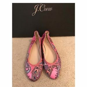 J.CREW KIKI LEATHER BALLET FLAT IN PAISLEY SIZE 7M